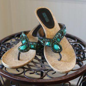 Kenneth Cole Turquoise Sandals 8.5 beaded
